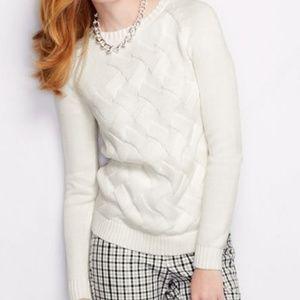 Lands End Drifter Texture Crewneck Sweater Ivory